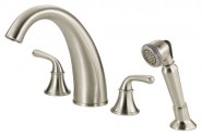 Danze D307756BN Bannockburn Roman Tub Faucet with Soft Touch Personal Shower - Brushed Nickel