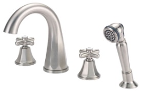 Danze D314766BN Brandywood Roman Tub High-Rise Spout Cross Handle Faucet with Soft Touch Personal Shower - Brushed Nickel