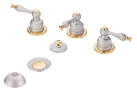 Danze D326455SNPV Sheridan Bidet Faucet - Satin Nickel w/ Polished Brass Accents