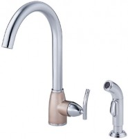 Danze D404854CSN Sonora Collection Single Handle Kitchen Faucet - Chrome w/ Satin Nickel Accents