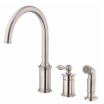 Danze D409010SS Prince Single Handle Kitchen Faucet with Spray - Stainless Steel