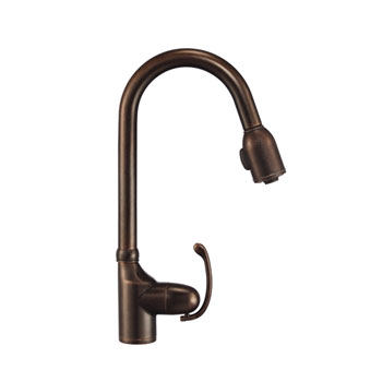 Danzee D454520BR Anu Single Handle Pull Down Kitchen Faucet - Tumbled Bronze