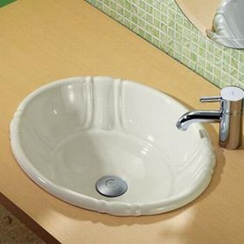 Decolav 1495-CBN Amelia Decorative Drop-In Oval Vitreous China Sink - Ceramic Bone