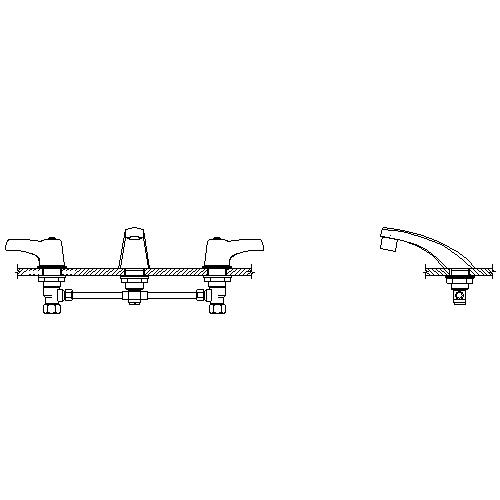 Delta Commercial 23C343 Widespread Bathroom Faucet with Lever Blade Handles and Cast Spout and Flow Control Aerator - Chrome