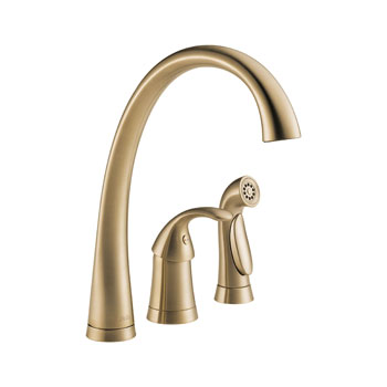 Delta 4380-CZ-DST Pilar Single Handle Kitchen Faucet with Matching Side Spray and DIAMOND Seal Technology - Champagne Bronze