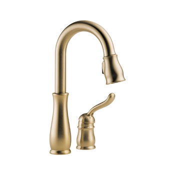 Delta 9978-CZ-DST Leland Single Handle Pull-Down Bar/Prep Faucet with DIAMOND Seal Technology - Champagne Bronze