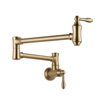 Delta 1177LF-CZ Traditional Wall Mount Pot Filler Faucet - Champagne Bronze