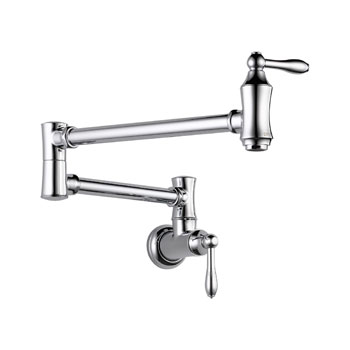 Delta 1177LF Traditional Wall Mount Pot Filler Faucet - Chrome