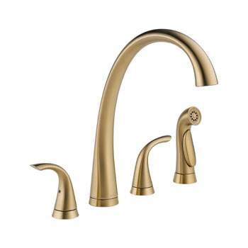 Delta 2480-CZ-DST Pilar Two Handle Widespread Kitchen Faucet with Side Spray - Champagne Bronze