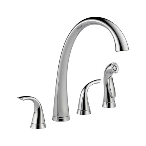 Delta 2480-DST Pilar Two Handle Widespread Kitchen Faucet with Side Spray - Chrome