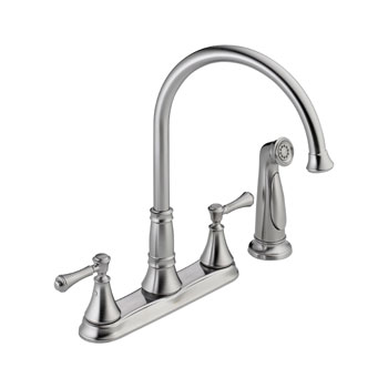 Delta 2497LF-AR Cassidy Two Handle Kitchen Faucet with Side Spray - Arctic Stainless
