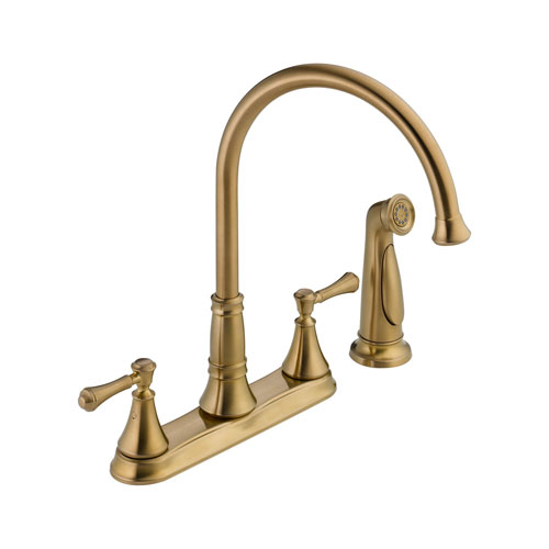 Delta 2497LF-CZ Cassidy Two Handle Kitchen Faucet with Side Spray - Champagne Bronze
