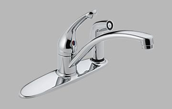Delta 302-WF Sincerity Single Handle Kitchen Faucet with Integral Spray Chrome