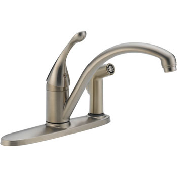 Delta 340-SS-DST Collins Single Handle Kitchen Faucet with Integral Spray with DIAMOND(TM) Seal Technology Brilliance Stainless