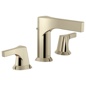 delta zura two handle widespread lavatory faucet polished nickel