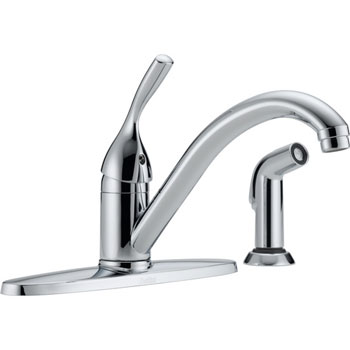 Delta 400-DST Classic Single Handle Kitchen Faucet with Sidespray and Diamond(TM) Seal Technology Chrome