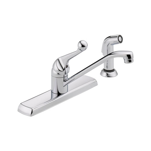 Delta 420LF Classic Single Handle Kitchen Faucet with Spray - Chrome