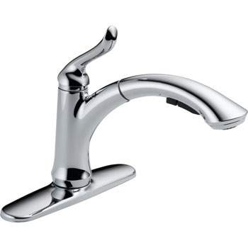 Delta 4353-DST Linden Single Handle Pull-Out Kitchen Faucet with DIAMOND(TM) Seal Technology - Chrome