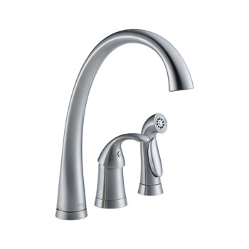 Delta 4380-AR-DST Pilar Single Handle Kitchen Faucet with Matching Side Spray and DIAMOND Seal Technology - Arctic Stainless