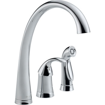 Delta 4380-DST Pilar Single Handle Kitchen Faucet with Matching Side Spray and DIAMOND(TM) Seal Technology Chrome