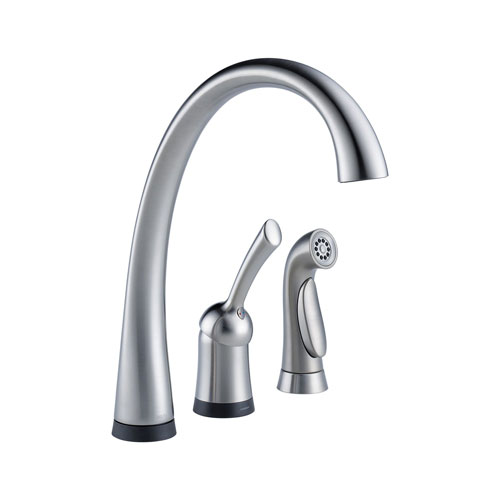 Delta 4380T-AR-DST Pilar Single Handle Kitchen Faucet with Touch2O Technology and Spray - Arctic Stainless