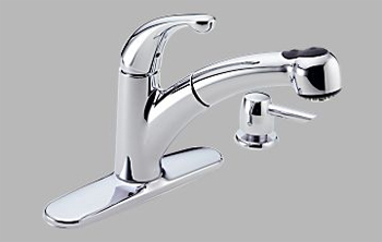 Delta 467-SD-DST Palo Single Handle Pull-Out Kitchen Faucet with Soap Dispenser and DIAMOND(TM) Seal Technology Chrome