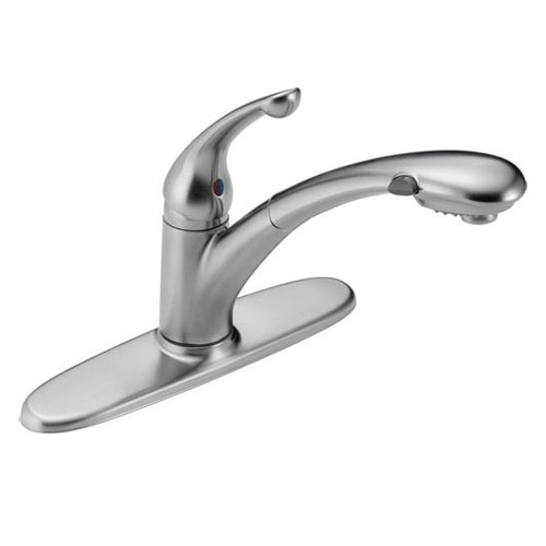 Delta 470-AR-DST Signature Single Handle Pull-Out Kitchen Faucet - Arctic Stainless