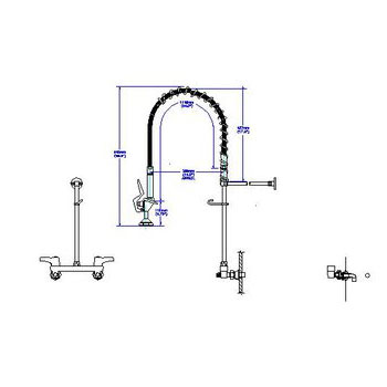Delta 55C1513 Double Handle Pre-Rinse Kitchen Faucet with Ceramic ...