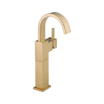 Delta 753LF-CZ Vero Single Handle Centerset Lavatory Faucet with Riser, Less Pop-Up - Champagne Bronze
