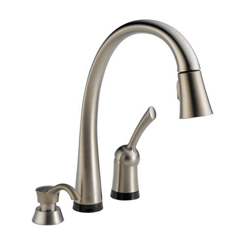 Delta 980T-SSSD-DST Pilar Single Handle Pull-Down Kitchen Faucet with Soap Dispenser and DIAMOND Seal Technology - Brilliance Stainless
