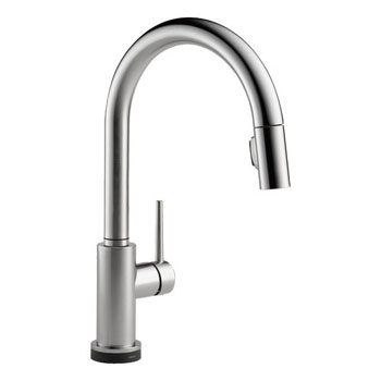 delta 9159tardst trinsic single handle pull down kitchen faucet featuring touc