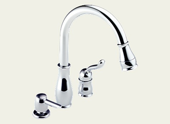 Delta 978-SD-DST Leland Single Handle Kitchen Pull-Down Faucet with Soap Dispenser and DIAMOND Seal Technology - Chrome