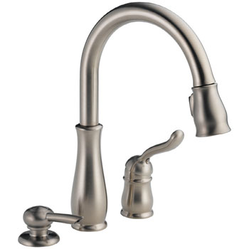 Delta 978-SSSD-DST Leland Single Handle Kitchen Pull-Down Faucet with Soap Dispenser and DIAMOND Seal Technology - Brilliance Stainless