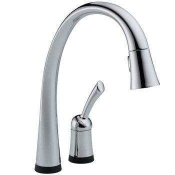 Delta 980T-DST Pilar Single Handle Pull-Down Kitchen Faucet with DIAMOND Seal Technology Chrome