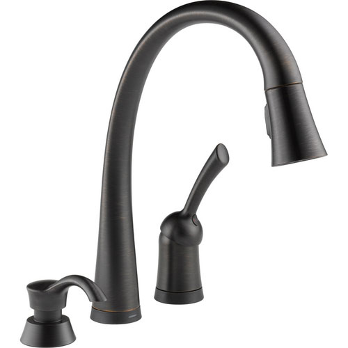 Delta 980T-RBSD-DST Pilar Single Handle Pull-Down Kitchen Faucet with Soap Dispenser and DIAMOND Seal Technology - Venetian Bronze