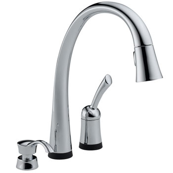 Delta 980T-SD-DST Pilar Single Handle Pull-Down Kitchen Faucet with Soap Dispenser and DIAMOND Seal Technology - Chrome