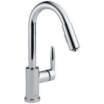 Delta 985LF Grail Single Handle Kitchen Pull-Down Faucet Chrome