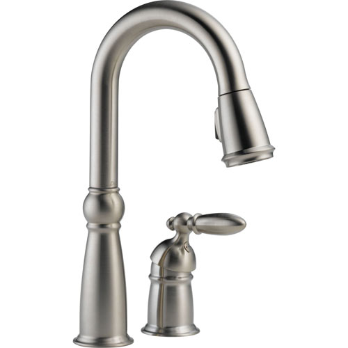 Delta 9955-SS-DST Victorian Single Handle Pull-Down Bar/Prep Faucet with DIAMOND Seal Technology - Brilliance Stainless