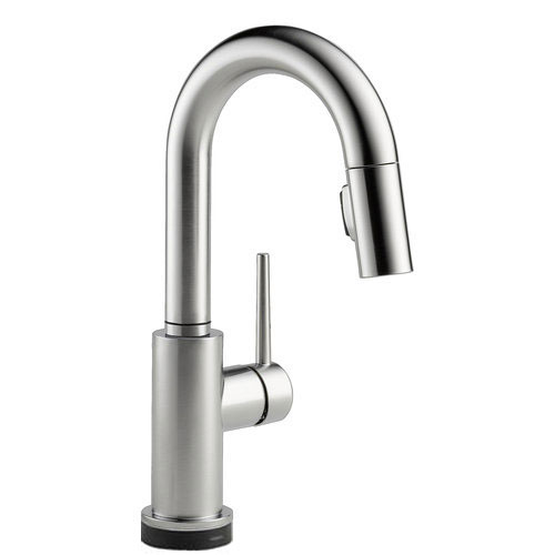 Delta 9959T-AR-DST Trinsic Single Handle Pull-Down Bar/Prep Faucet Featuring Touch2O Technology - Arctic Stainless