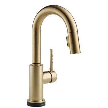 Delta 9959T-CZ-DST Trinsic Single Handle Pull-Down Bar/Prep Faucet Featuring Touch2O Technology - Champagne Bronze