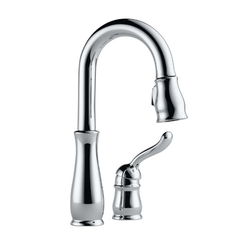 Delta 9978-DST Leland Single Handle Pull-Down Bar/Prep Faucet with DIAMOND Seal Technology - Chrome