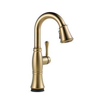 Delta 9997T-CZ-DST Cassidy Single Handle Pull Down Bar/Prep Faucet with Touch2O Technology - Champagne Bronze