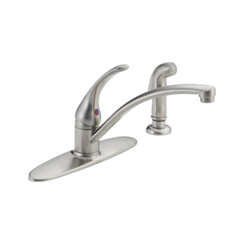 Delta B4410LF-SS Foundations Core-B Single Handle Kitchen Faucet with Side Spray - Stainless Steel