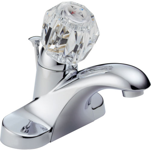 Delta B512LF Foundations Core-B Single Acrylic Knob Handle Centerset Lavatory Faucet - Chrome