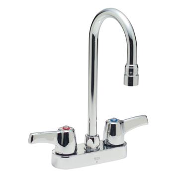 Delta commercial 27c4843 teck r series two handle centerset lavatory faucet chrome for Hands free commercial bathroom faucets