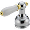 Delta H212CB Traditional Porcelain Lever Handle Chrome & Brilliance Polished Brass (Set of Two)