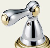 Delta H217CB Botanical Metal Lever Handle Chrome & Brilliance Polished Brass (Set of Two)