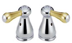 Delta H678CB Leland Large Metal Lever Handles Chrome & Brilliance Polished Brass (Set of Two)