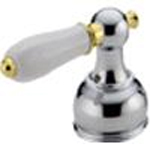 Delta H712CB Traditional Porcelain Lever Handle Chrome & Brilliance Polished Brass