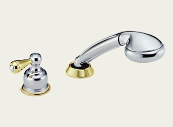 Delta RP14979-CBLHP Classic Deck Mounted Roman Tub Personal Hand Held Shower and Diverter Kit Chrome & Brilliance Polished Brass